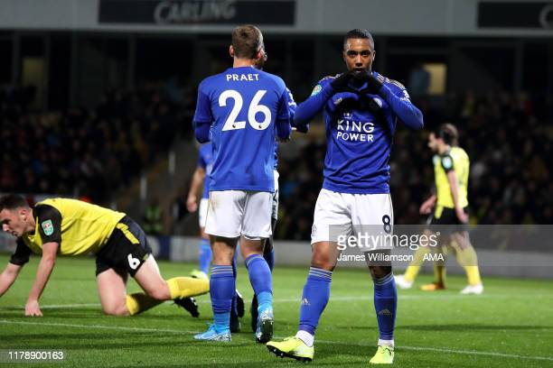 Youri Tielemans of Leicester City celebrates after scoring a goal to make it 0-2 during the Carabao Cup Round of 16 match between Burton Albion and...