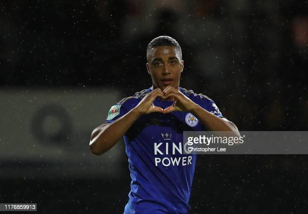 Youri Tielemans of Leicester City celebrates after scoring his sides third goal during the Carabao Cup Third Round match between Luton Town and...