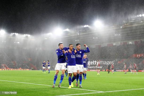 Youri Tielemans of Leicester City celebrates after scoring his team's second goal with Jamie Vardy and Ayoze Perez during the Premier League match...