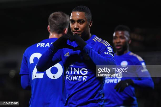Youri Tielemans of Leicester City celebrates after scoring his team's second goal during the Carabao Cup Round of 16 match between Burton Albion and...