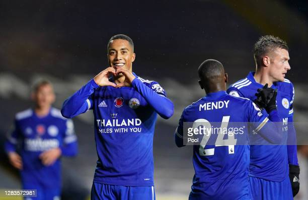 Youri Tielemans of Leicester City celebrates after scoring his team's second goal during the Premier League match between Leeds United and Leicester...
