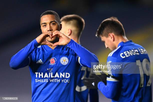 Youri Tielemans of Leicester City celebrates after scoring his team's fourth goal during the Premier League match between Leeds United and Leicester...