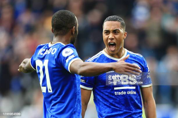 Youri Tielemans of Leicester City celebrates after scoring their 1st goal during the Premier League match between Leicester City and Manchester...