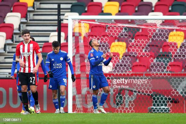 Youri Tielemans of Leicester City celebrates after scoring their side's second goal from the penalty spot during The Emirates FA Cup Fourth Round...