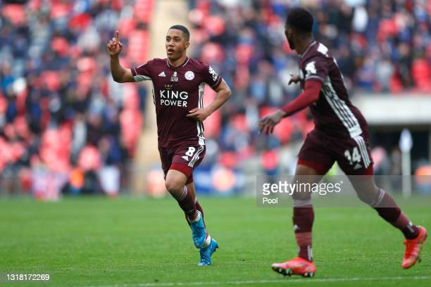 Youri Tielemans of Leicester City celebrates after scoring their side's first goal during The Emirates FA Cup Final match between Chelsea and...