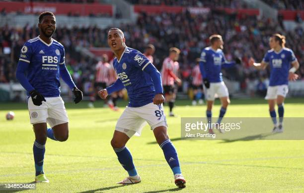Youri Tielemans of Leicester City celebrates after scoring their sides first goal during the Premier League match between Brentford and Leicester...