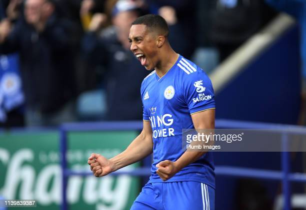 Youri Tielemans of Leicester City celebrates after scoring to make it 10 during the Premier League match between Leicester City and Arsenal at The...