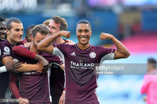 Youri Tielemans of Leicester City celebrates after scoring to make it 2-5 during the Premier League match between Manchester City and Leicester City...