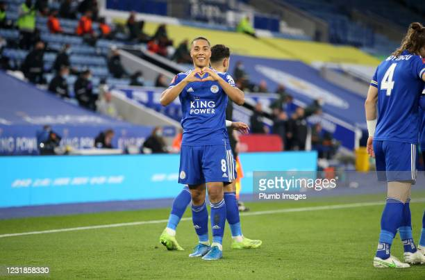 Youri Tielemans of Leicester City celebrates after scoring to make it 2-1 during the Emirates FA Cup Quarter Final match between Leicester City and...