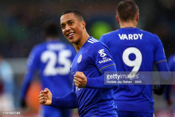 Youri Tielemans of Leicester City celebrates during the Premier League match between Burnley FC and Leicester City at Turf Moor on March 16 2019 in...