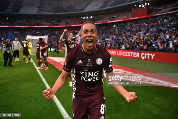 Youri Tielemans of Leicester City celebrates victory following The Emirates FA Cup Final match between Chelsea and Leicester City at Wembley Stadium...
