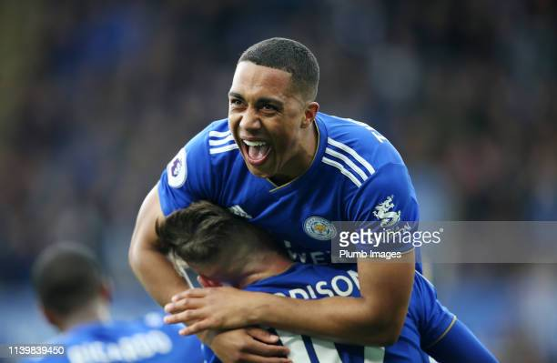 Youri Tielemans of Leicester City celebrates with James Maddison of Leicester City after scoring to make it 1-0 during the Premier League match...