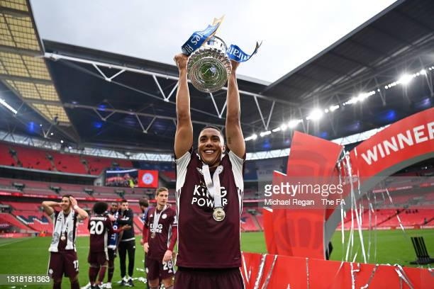 Youri Tielemans of Leicester City celebrates with the Emirates FA Cup trophy following The Emirates FA Cup Final match between Chelsea and Leicester...