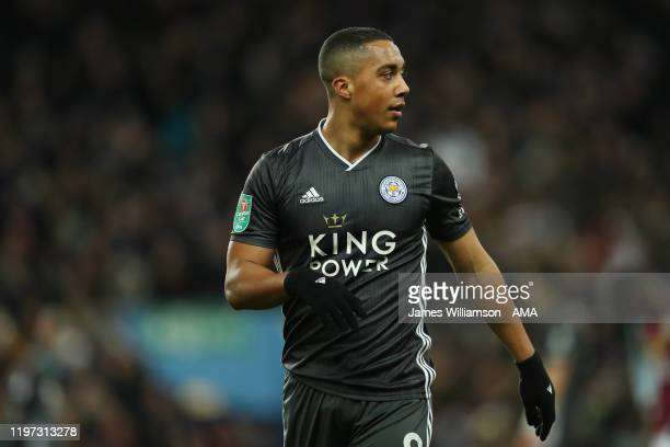 Youri Tielemans of Leicester City during the Carabao Cup Semi Final match between Aston Villa and Leicester City at Villa Park on January 28 2020 in...