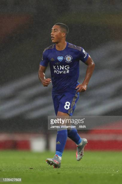Youri Tielemans of Leicester City during the Premier League match between Arsenal FC and Leicester City at Emirates Stadium on July 7 2020 in London...