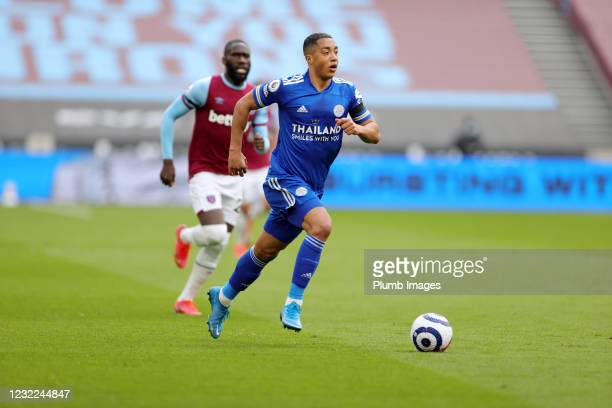 Youri Tielemans of Leicester City during the Premier League match between West Ham United and Leicester City at London Stadium on April 11, 2021 in...