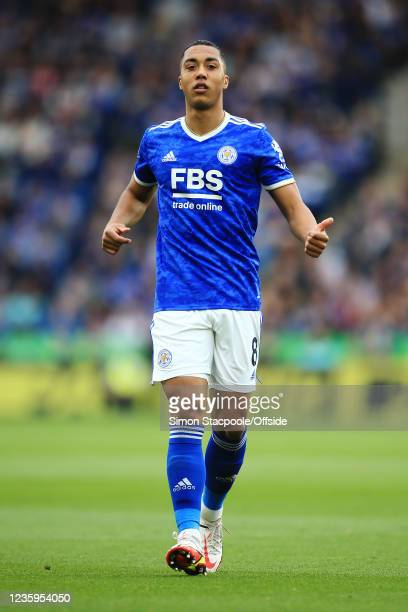 Youri Tielemans of Leicester City gestures during the Premier League match between Leicester City and Manchester United at The King Power Stadium on...