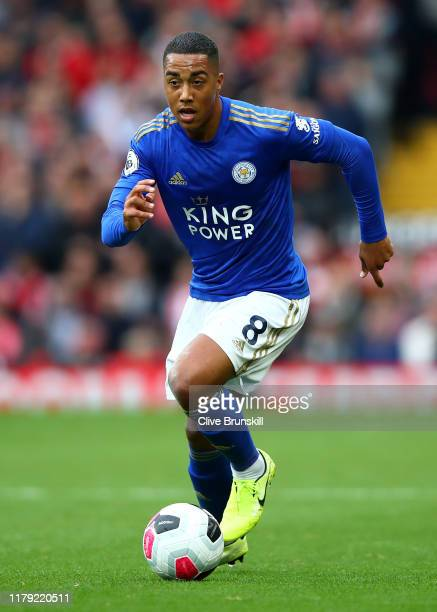 Youri Tielemans of Leicester City in action during the Premier League match between Liverpool FC and Leicester City at Anfield on October 05, 2019 in...
