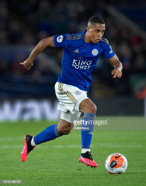 Youri Tielemans of Leicester City in action during the Premier League match between Leicester City and Manchester City at The King Power Stadium on...