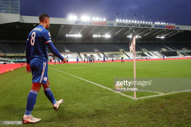 Youri Tielemans of Leicester City prepares to take a corner during the Premier League match between Newcastle United and Leicester City at St. James...