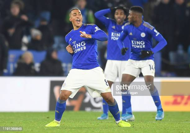 Youri Tielemans of Leicester City reacts waiting for the VAR review result of Kelechi Iheanacho of Leicester City second goal during the Premier...