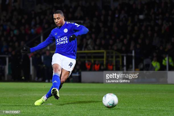 Youri Tielemans of Leicester City scores his team's second goal during the Carabao Cup Round of 16 match between Burton Albion and Leicester City at...