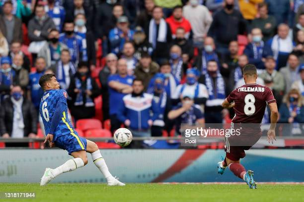 Youri Tielemans of Leicester City scores their side's first goal during The Emirates FA Cup Final match between Chelsea and Leicester City at Wembley...