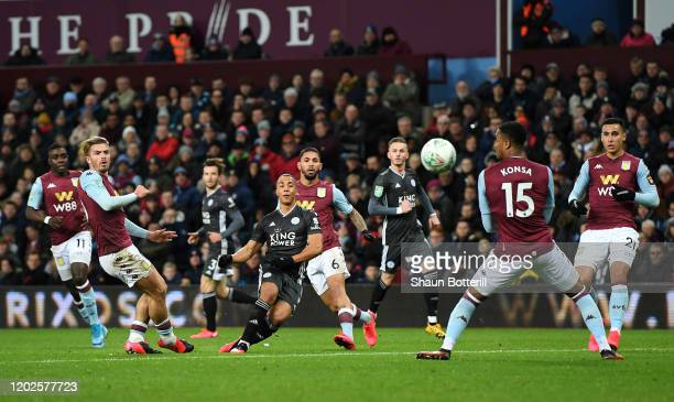 Youri Tielemans of Leicester City shoots on goal during the Carabao Cup Semi Final match between Aston Villa and Leicester City at Villa Park on...