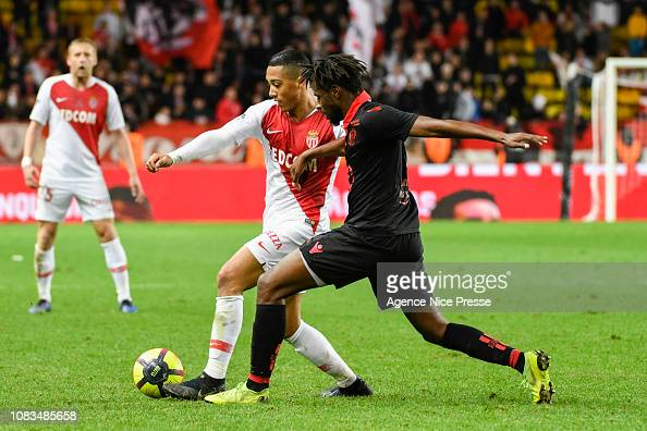 Youri Tielemans Of Monaco And Adrien Tameze Of Nice During