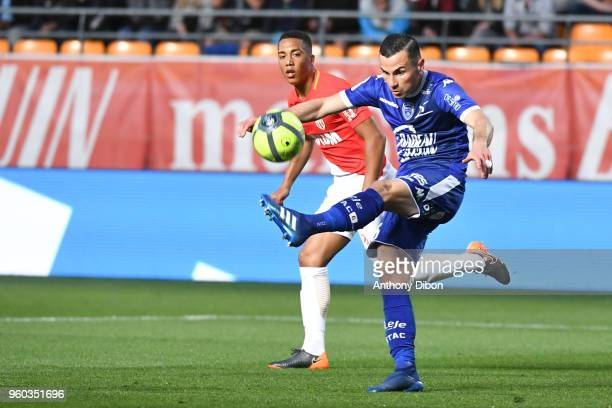 Youri Tielemans of Monaco and Karim Azamoum of Troyes during the Ligue 1 match between Troyes AC and AS Monaco at Stade de l'Aube on May 19 2018 in...