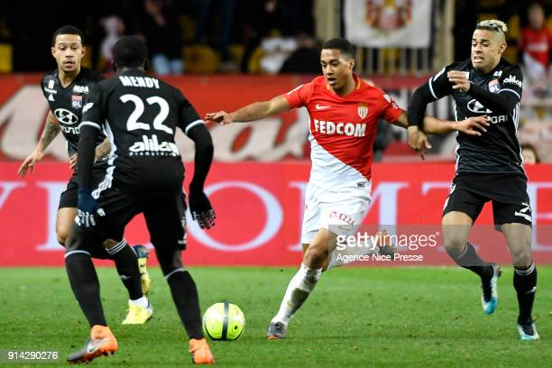 Youri Tielemans of Monaco and Mariano Diaz of Lyon during the Ligue 1 match between AS Monaco and Lyon at Stade Louis II on February 4 2018 in Monaco