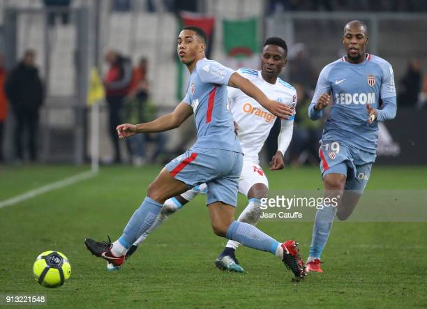 Youri Tielemans of Monaco Bouna Sarr of OM Djibril Sidibe of Monaco during the French Ligue 1 match between Olympique de Marseille and AS Monaco at...