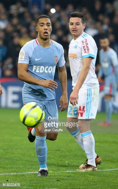 Youri Tielemans of Monaco Florian Thauvin of OM during the French Ligue 1 match between Olympique de Marseille and AS Monaco at Stade Velodrome on...