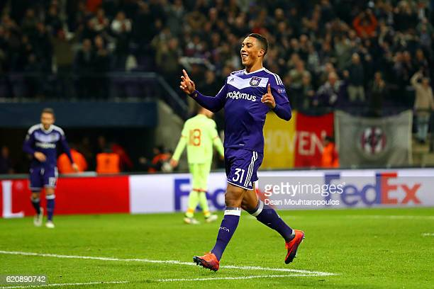 Youri Tielemans of RSC Anderlecht celebrates after scoring his team's thirkd goal during the UEFA Europa League Group C match between RSC Anderlecht...