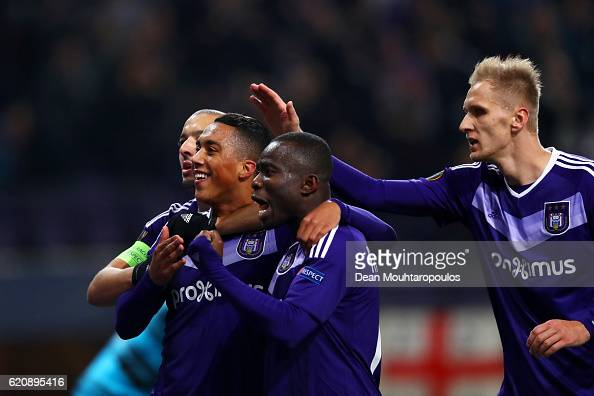 Youri Tielemans Of RSC Anderlecht Celebrates With Team