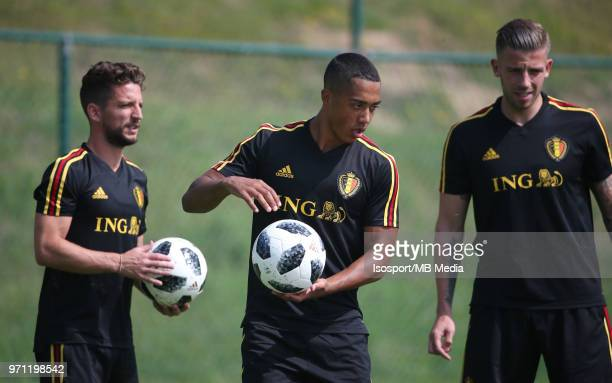 Youri TIELEMANS pictured during a training session of the Belgian national soccer team ' Red Devils ' at the Belgian National Football Center as part...