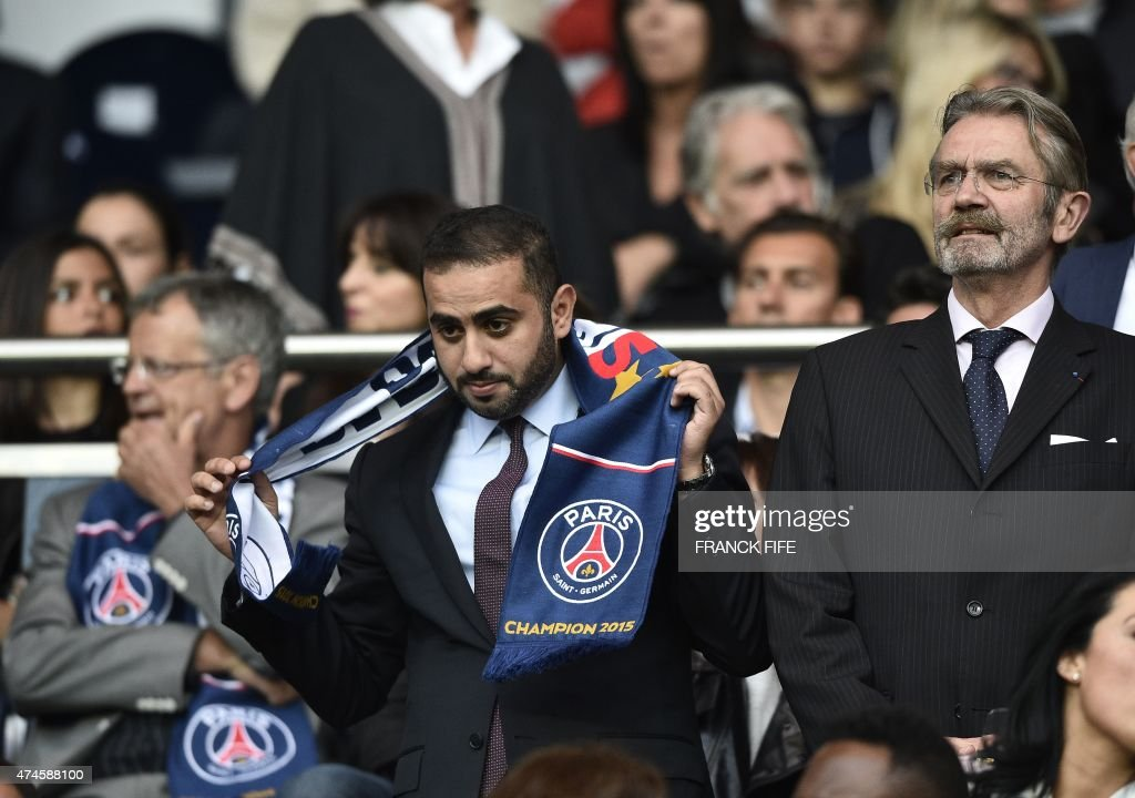 Yousef Al Obaidly (L), president of the BeIn Sport France television channel and French football professional league (LFP) president Frederic Thiriez attend the French L1 football match Paris Saint-Germain (PSG) vs Reims on May 23, 2015 at the Parc des Princes stadium in Paris.