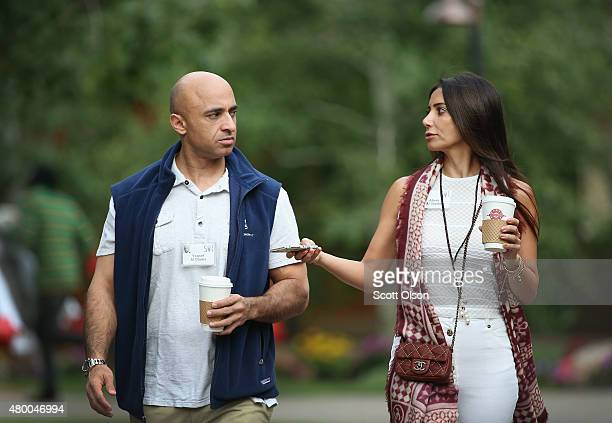 Yousef Al Otaiba United Arab Emirates Ambassador to the United States and his wife Abeer attend the Allen Company Sun Valley Conference on July 9...