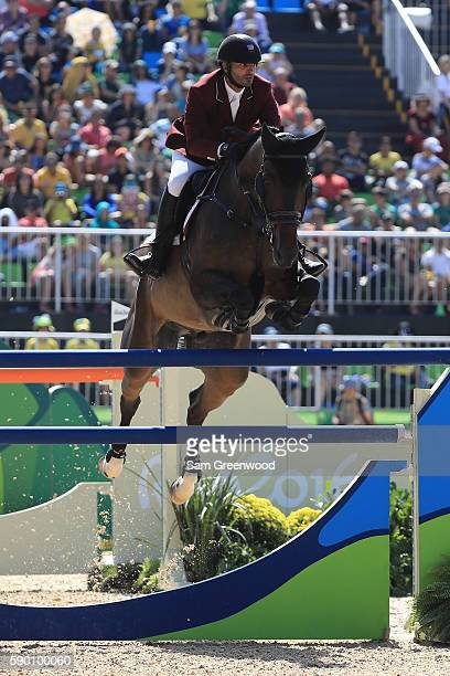 Yousef Al Rumaihi Ali of Qatar rides Gunder during the Team Jumping on Day 11 of the Rio 2016 Olympic Games at the Olympic Equestrian Centre on...