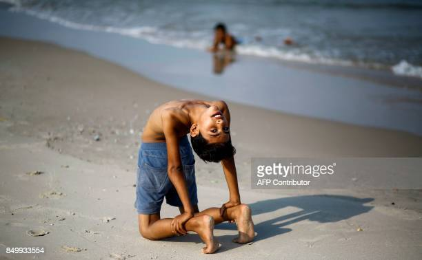 Yousef AlBahtini a twelveyearold Palestinian boy invited to attempt the record attempt for 'fastest time to travel 20 metres in a contortion roll' by...