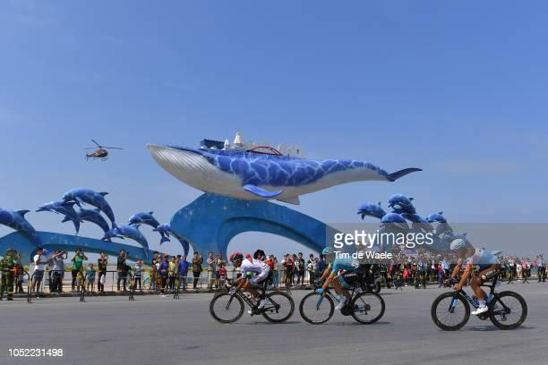 Yousif Mirza of United Arab Emirates and Team Uae Team Emirates / Silvan Dillier of Switzerland and Team Ag2R La Mondiale / Andriy Grivko of Ukraine...