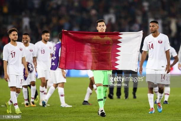 Yousof Hassan Ali of Qatar celebrates the victory after the AFC Asian Cup final match between Japan and Qatar at Zayed Sports City Stadium on...