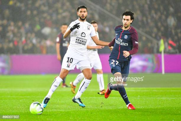 Youssef Ait Bennasser of Caen and Javier Pastore of PSG during the Ligue 1 match between Paris Saint Germain and SM Caen at Parc des Princes on...