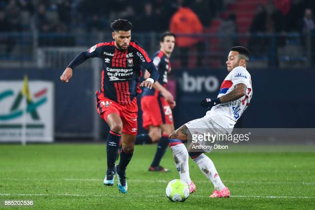 Youssef Ait Bennasser of Caen and Memhpis Depay of Lyon during the Ligue 1 match between SM Caen and Olympique Lyonnais at Stade Michel D'Ornano on...