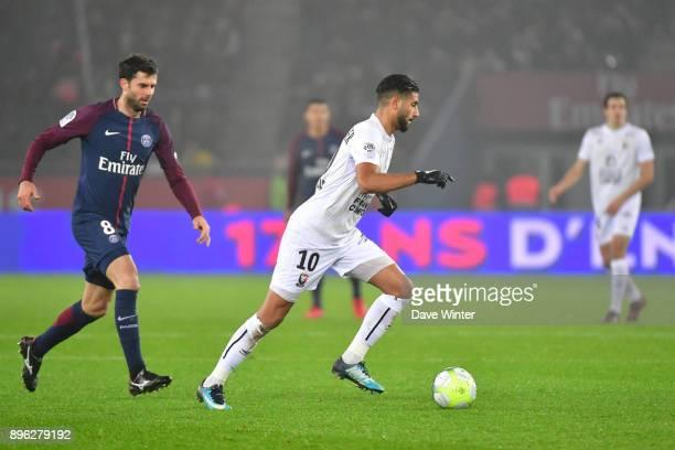 Youssef Ait Bennasser of Caen and Thiago Motta of PSG during the Ligue 1 match between Paris Saint Germain and SM Caen at Parc des Princes on...