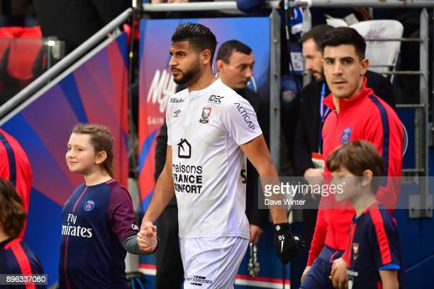 Youssef Ait Bennasser of Caen comes out for the Ligue 1 match between Paris Saint Germain and SM Caen at Parc des Princes on December 20 2017 in...