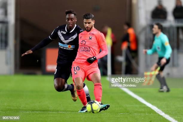Youssef Ait Bennasser of Caen during the Ligue 1 match between FC Girondins de Bordeaux and SM Caen at Stade Matmut Atlantique on January 16 2018 in...