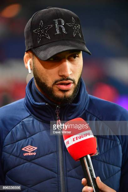 Youssef Ait Bennasser of Caen is interviewed before the Ligue 1 match between Paris Saint Germain and SM Caen at Parc des Princes on December 20 2017...