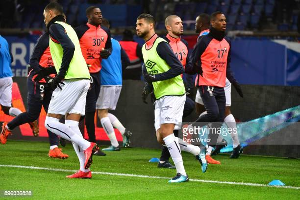 Youssef Ait Bennasser of Caen warms up before the Ligue 1 match between Paris Saint Germain and SM Caen at Parc des Princes on December 20 2017 in...