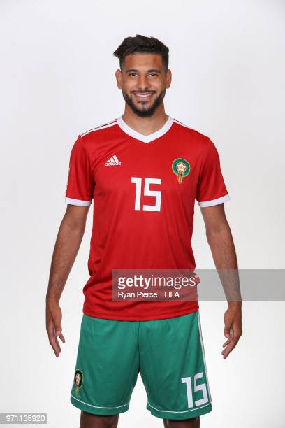 Youssef Ait Bennasser of Morocco poses during the official FIFA World Cup 2018 portrait session on June 10 2018 in Voronezh Russia